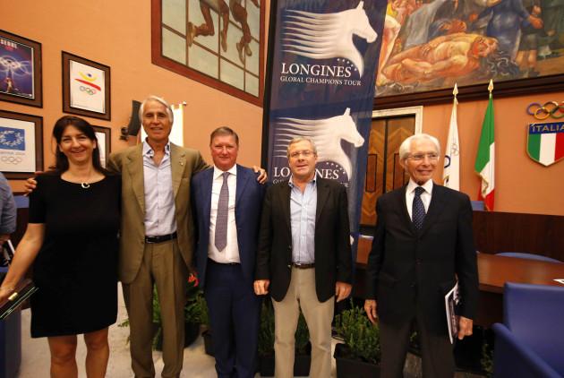 SALONE D'ONORE DEL CONI GREMITO PER LA PRESENTAZIONE UFFICIALE DELLA TAPPA ROMANA  DEL LONGINES GLOBAL  CHAMPIONS TOUR